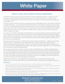 Benefits Meal Replacement White Paper
